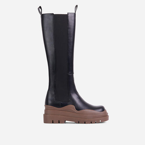 London Brown Chunky Sole Knee High Long Biker Boot In Black Faux Leather