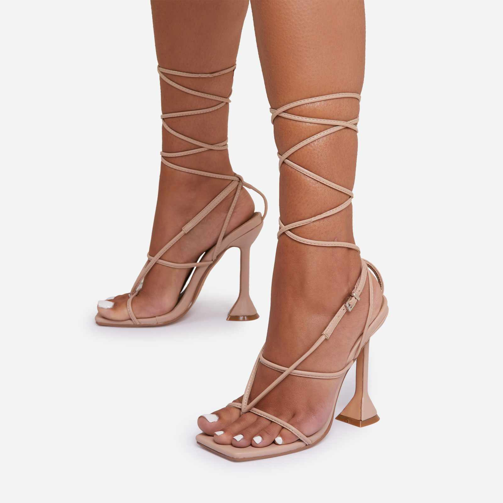 My-Angels Lace Up Square Toe Pyramid Heel In Nude Faux Leather
