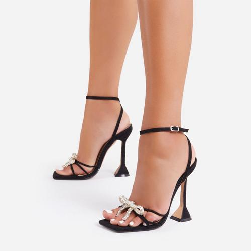 Razz Diamante Bow Detail Square Toe Sculptured Heel In Black Faux Suede