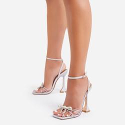 Razz Diamante Bow Detail Square Toe Pyramid Heel In Silver Glitter