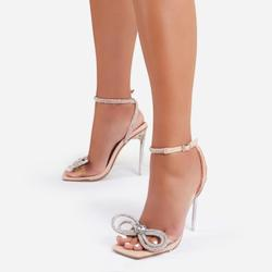 Sugar-Coated Diamante Bow Detail Square Toe Clear Perspex Heel In Nude Patent