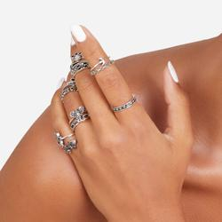 Multi Pack 13 Piece Hamsa Detail Rings In Silver
