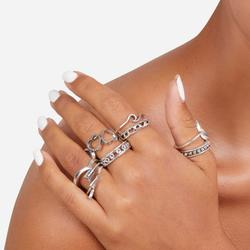Multi Pack 9 Piece Delicate Rings In Silver