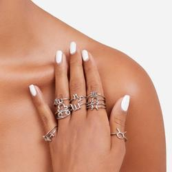 Multi Pack 12 Piece Symbol Detail Rings In Silver