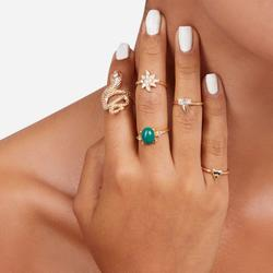 Multi Pack 7 Piece Snake Detail Rings In Gold