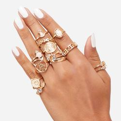 Multi Pack 15 Piece Heart Detail Rings In Gold