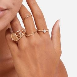 Multi Pack 5 Piece Sovereign Detail Rings In Gold