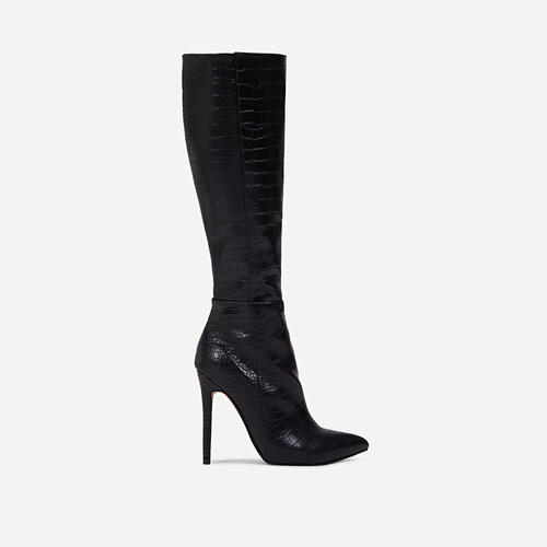 Rose Knee High Long Boot In Black Croc Print Faux Leather