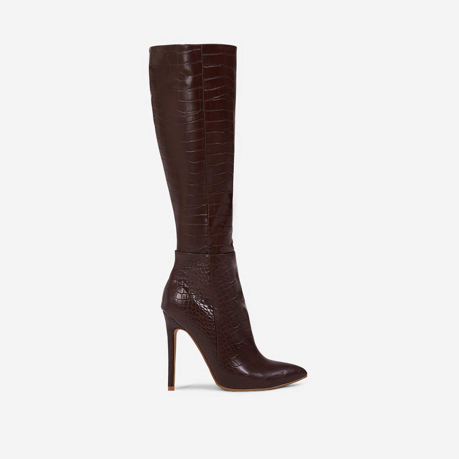 Rose Knee High Long Boot In Dark Brown Croc Print Faux Leather