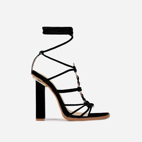 Mamacita Lace Up Ring Detail Square Open Toe Block Heel In Black Faux Suede