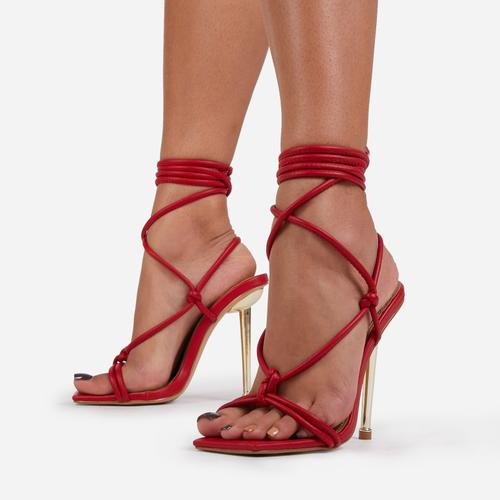 Orbit Lace Up Knotted Detail Square Toe Metallic Heel In Red Faux Leather