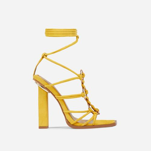 Mamacita Lace Up Ring Detail Square Open Toe Block Heel In Mustard Yellow Faux Suede