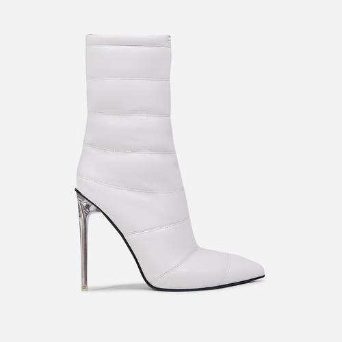 Queen Puffa Pointed Toe Clear Perspex Heel Ankle Boot In White Faux Leather