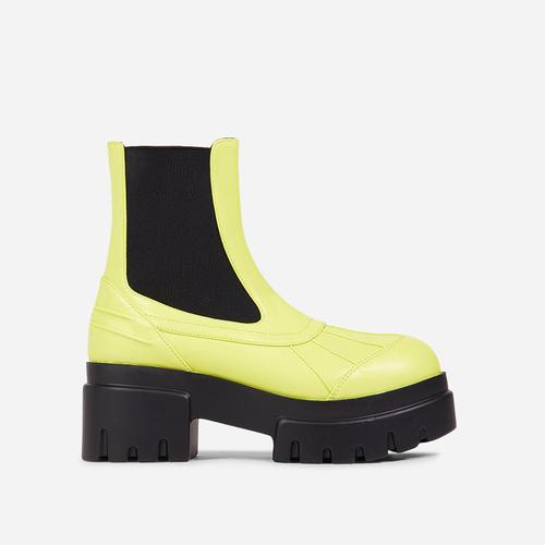 Raven Chunky Sole Ankle Biker Boot In Yellow Faux Leather