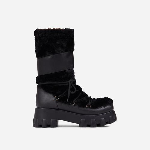 Studio Lace Up Chunky Sole Ankle Biker Boot In Black Faux Fur