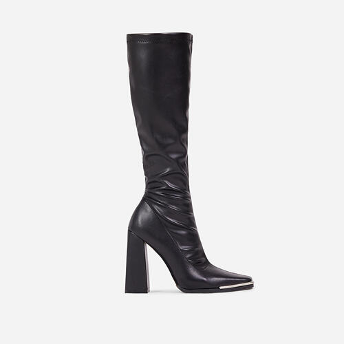 Ms-CEO Metallic Trim Detail Flared Block Heel Knee High Long Boot In Black Faux Leather