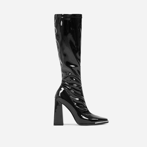 Ms-CEO Metallic Trim Detail Flared Block Heel Knee High Long Boot In Black Patent