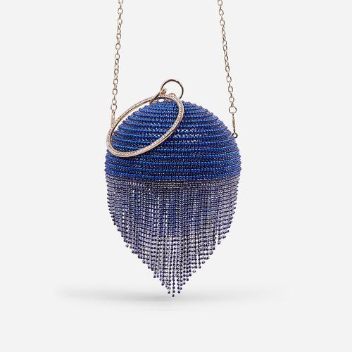 Tutti Diamante Tassel Beaded Sphere Grab Bag In Blue