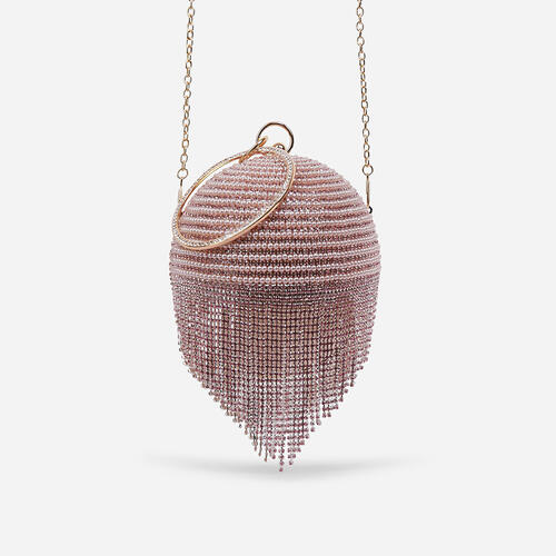 Tutti Diamante Tassel Beaded Sphere Grab Bag In Pink