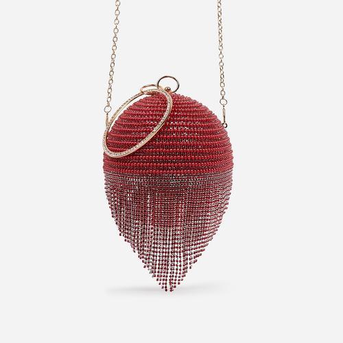 Tutti Diamante Tassel Beaded Sphere Grab Bag In Red