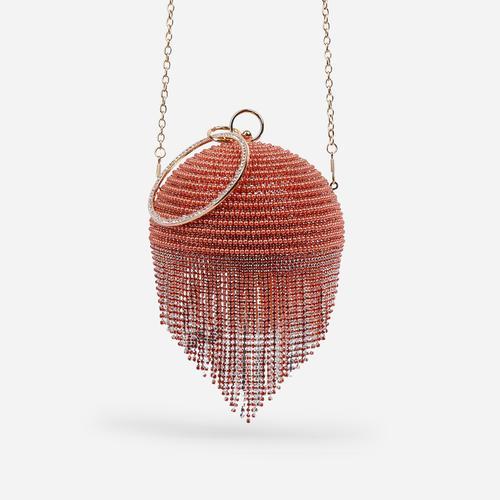 Tutti Diamante Tassel Beaded Sphere Grab Bag In Orange