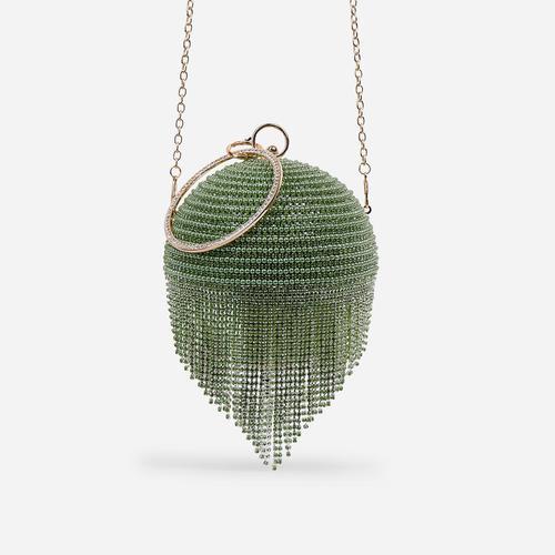 Tutti Diamante Tassel Beaded Sphere Grab Bag In Green