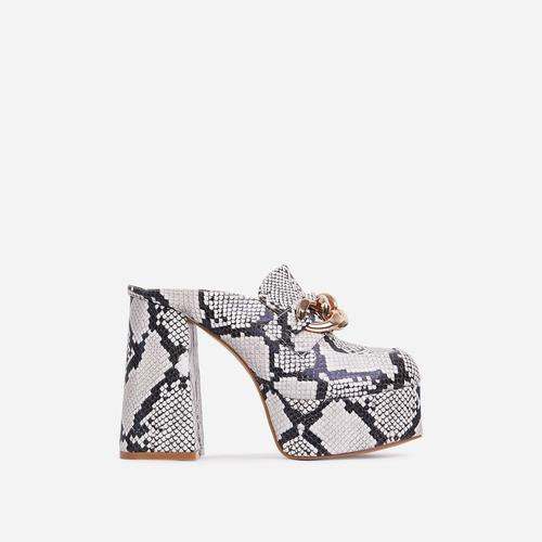 Jordyn Chain Detail Platform Block Heel Mule In Nude Snake Print Faux Leather