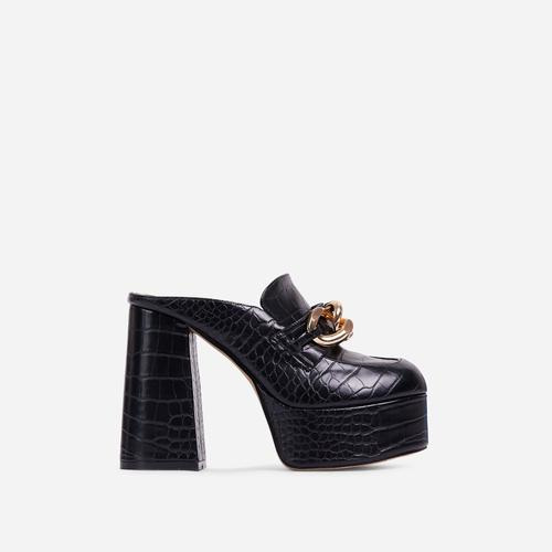 Jordyn Chain Detail Platform Block Heel Mule In Black Croc Print Faux Leather