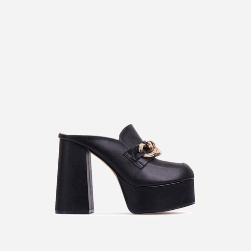 Jordyn Chain Detail Platform Block Heel Mule In Black Faux Leather
