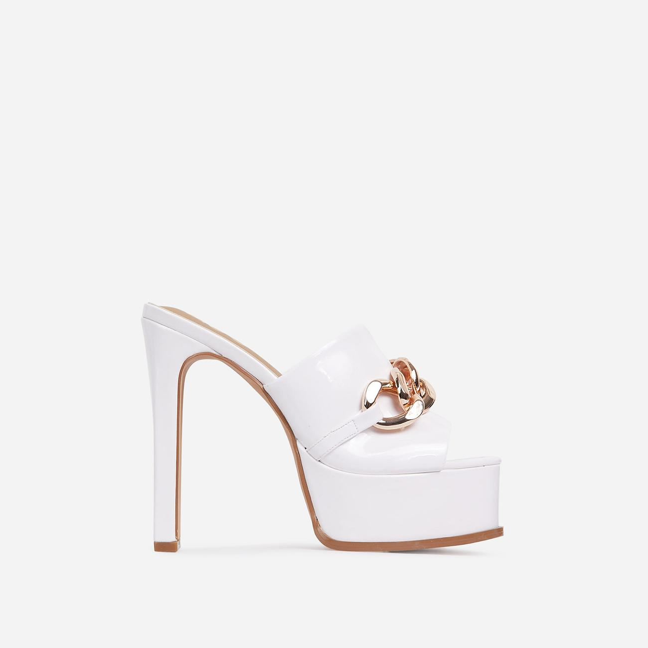 No-Chill Chain Detail Open Toe Platform Thin Block Heel Mule In White Patent Image 1