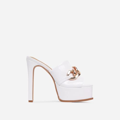 No-Chill Chain Detail Open Toe Platform Thin Block Heel Mule In White Patent