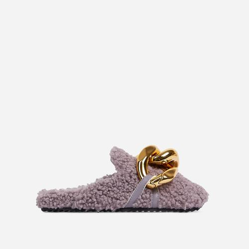 Hip Chunky Chain Detail Closed Toe Slipper In Grey Faux Shearling