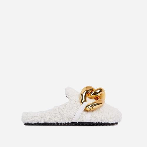 Hip Chunky Chain Detail Closed Toe Slipper In Off White Faux Shearling