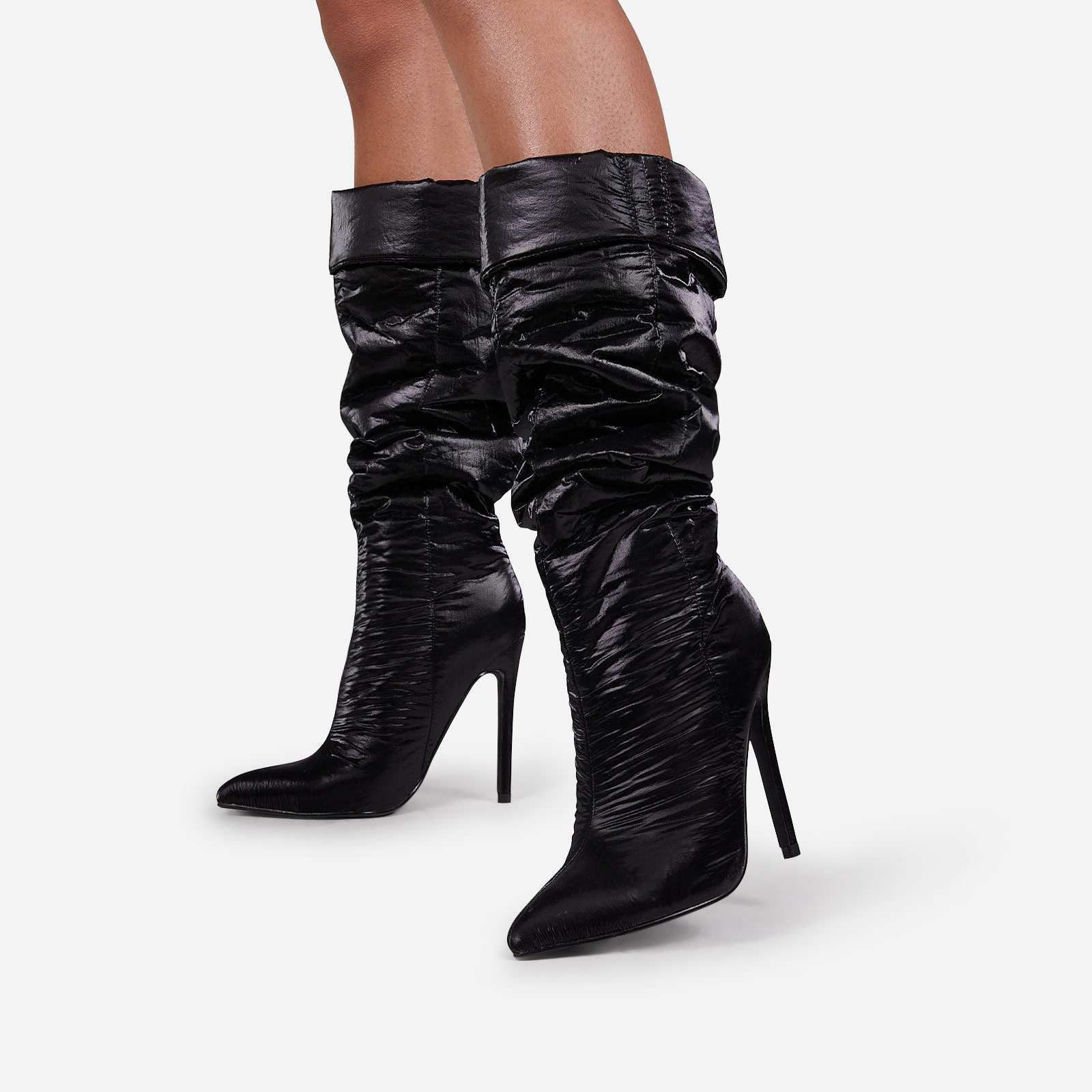 Ride-Or-Die Ruched Knee High Long Boot In Black High Shine Nylon