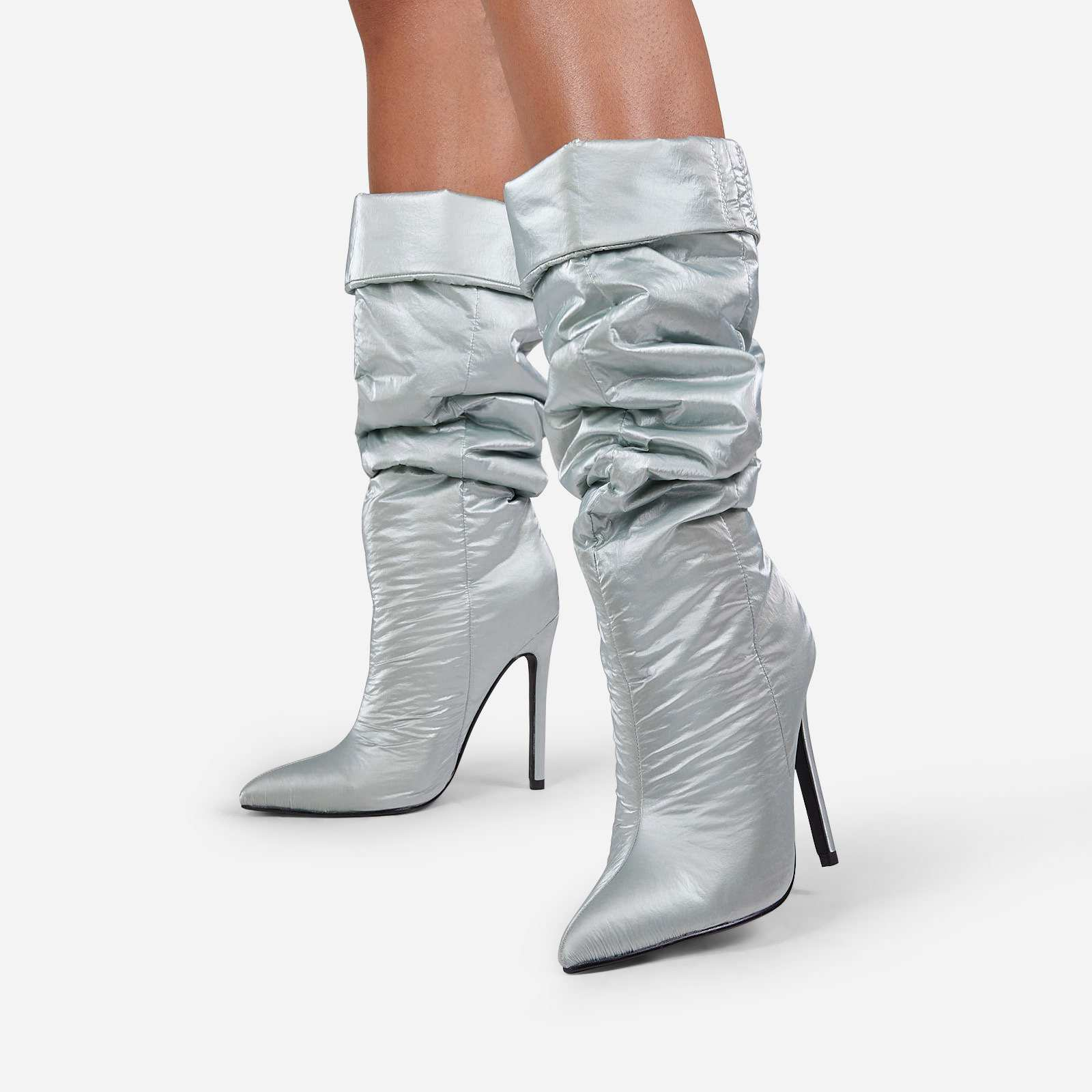 Ride-Or-Die Ruched Knee High Long Boot In Grey High Shine Nylon