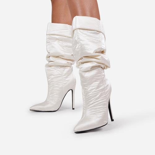 Ride-Or-Die Ruched Knee High Long Boot In White High Shine Nylon