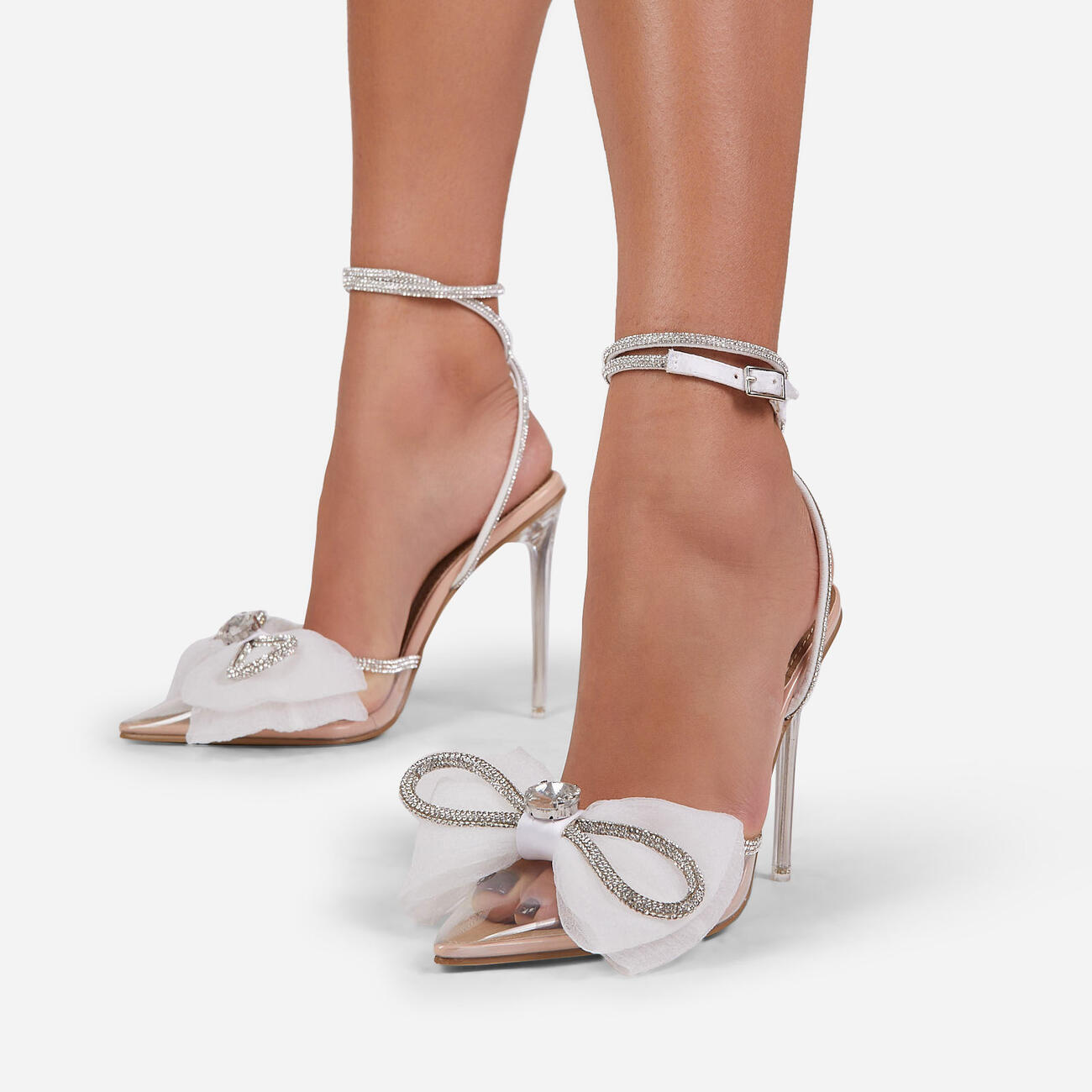 Chriselle Bow Detail Diamante Lace Up Clear Perspex Heel In Nude Patent Image 2