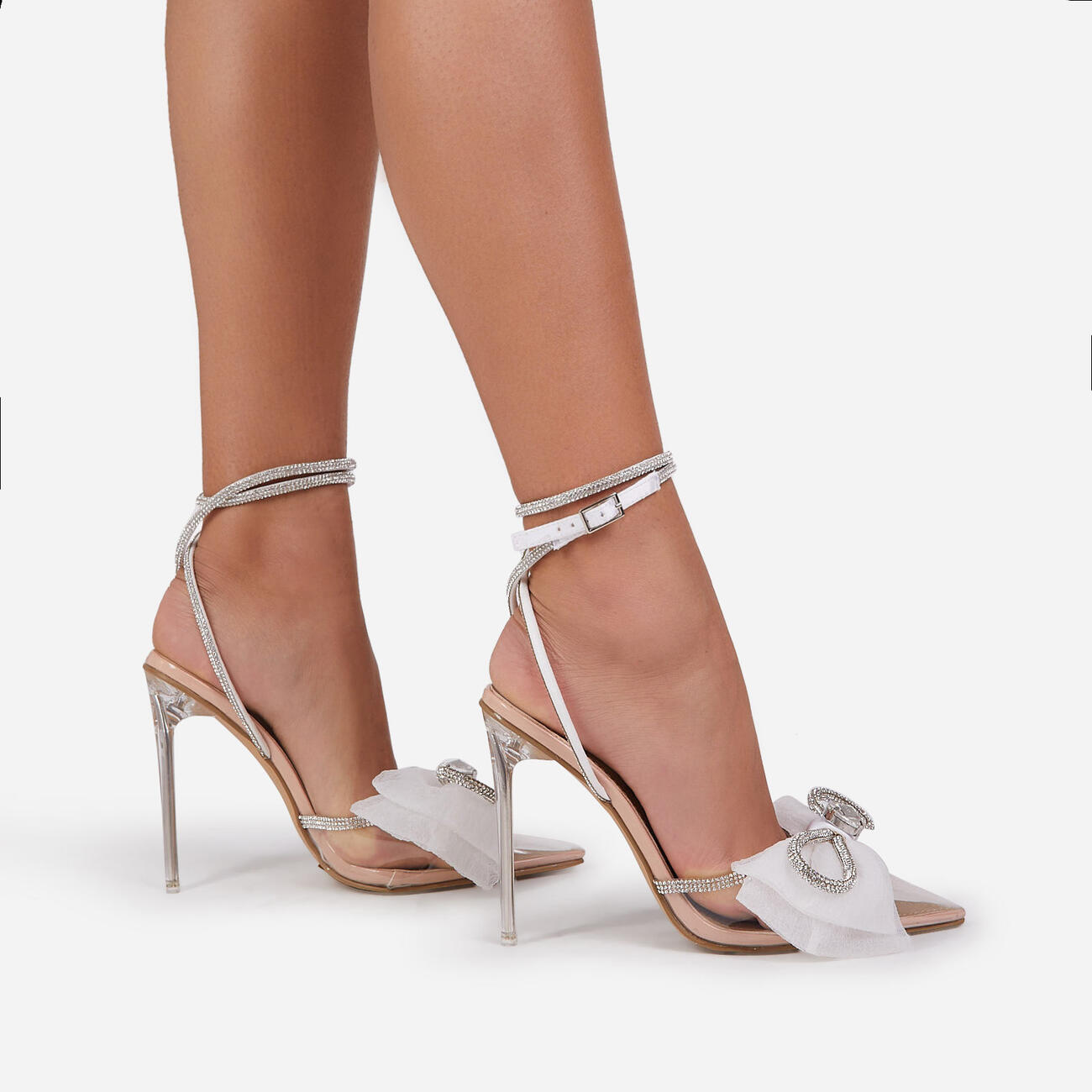 Chriselle Bow Detail Diamante Lace Up Clear Perspex Heel In Nude Patent Image 3