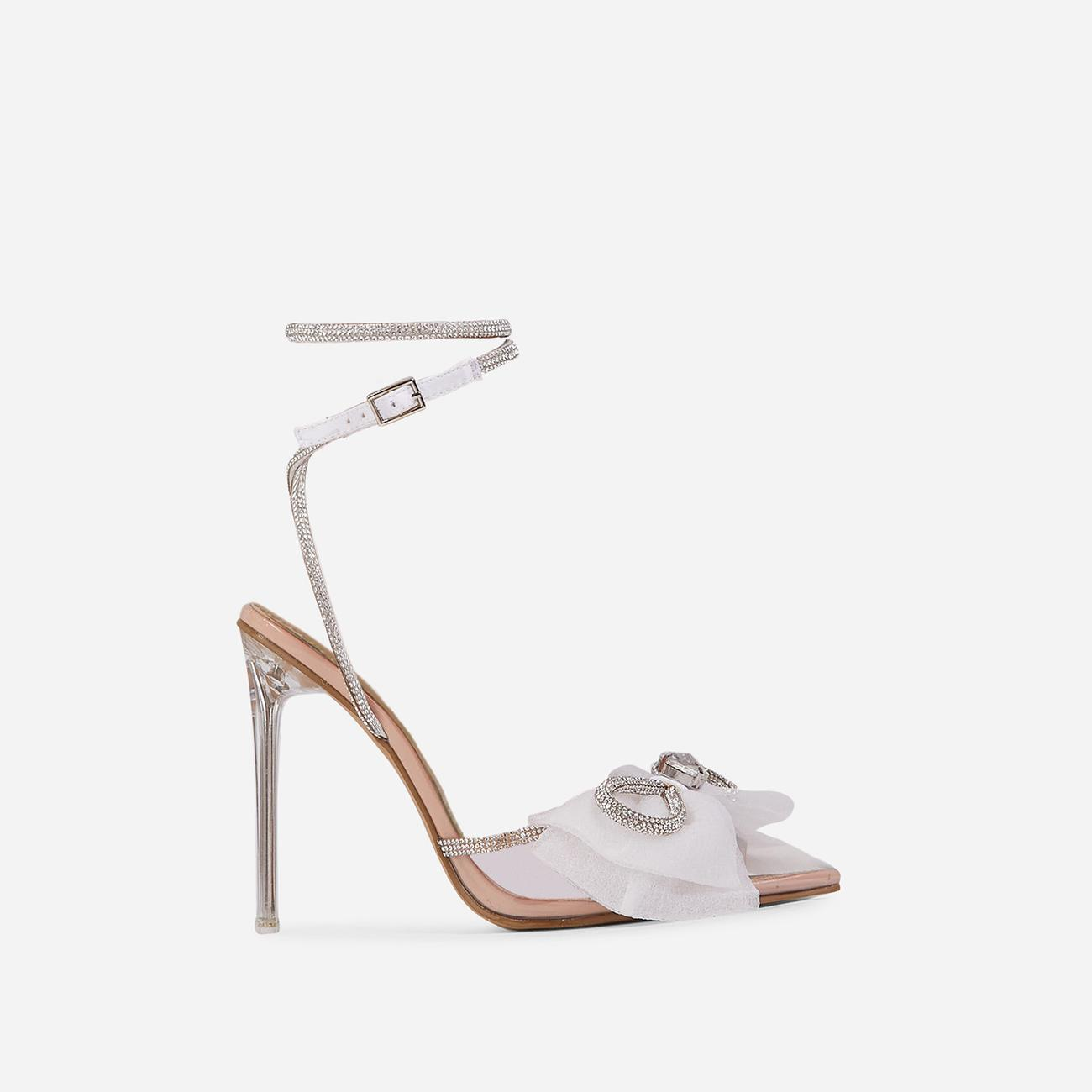 Chriselle Bow Detail Diamante Lace Up Clear Perspex Heel In Nude Patent Image 1