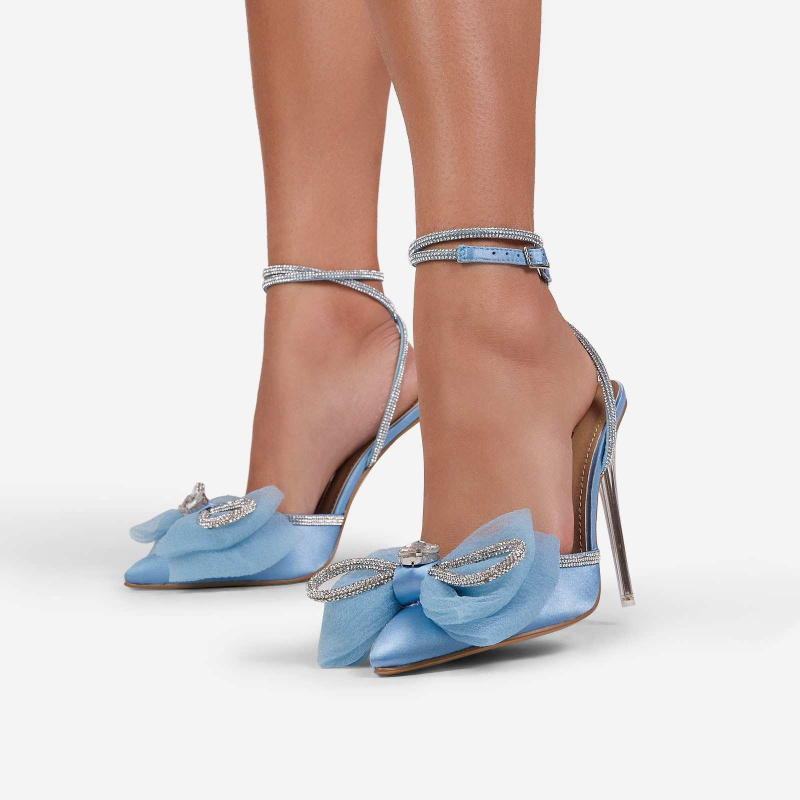 Chriselle Bow Detail Diamante Lace Up Clear Perspex Heel In Blue Satin