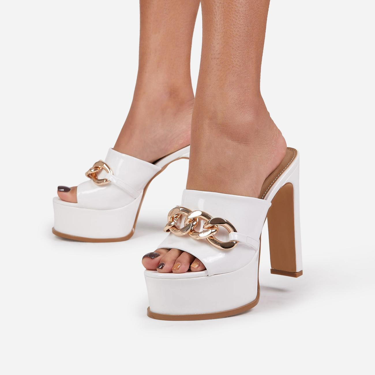 No-Chill Chain Detail Open Toe Platform Thin Block Heel Mule In White Patent Image 2