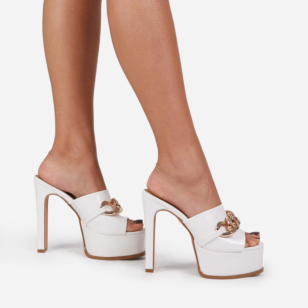 No-Chill Chain Detail Open Toe Platform Thin Block Heel Mule In White Patent Image 3