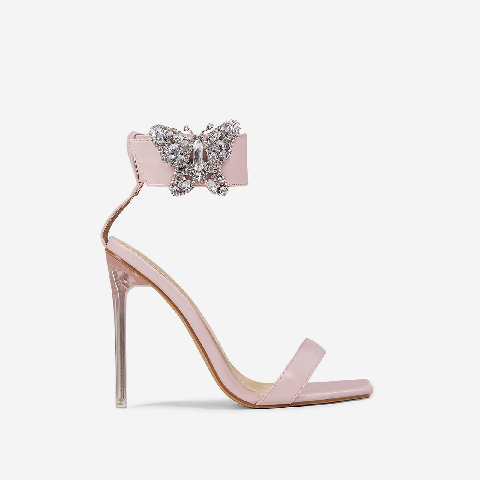 Finches Diamante Butterfly Detail Ankle Strap Square Open Toe Clear Perspex Heel In Pink Faux Leather