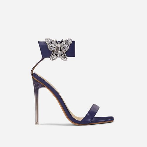 Finches Diamante Butterfly Detail Ankle Strap Square Open Toe Clear Perspex Heel In Navy Blue Faux Leather