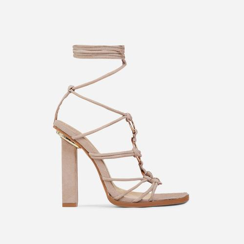 Mamacita Lace Up Ring Detail Square Open Toe Block Heel In Nude Faux Suede
