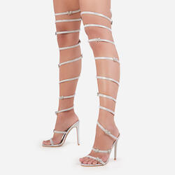 Babe Diamante Butterfly Detail Thigh High Wrap Around Heel In Silver Holographic Faux Leather