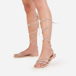 Blitz Diamante Detail Lace Up Flat Gladiator Sandal In Nude Faux Leather