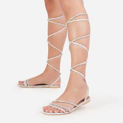 Blitz Diamante Detail Lace Up Flat Gladiator Sandal In Silver Holographic Faux Leather