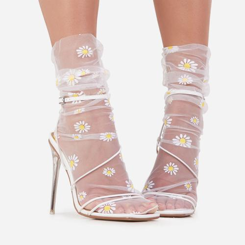 Daisy Print Socks In White Mesh