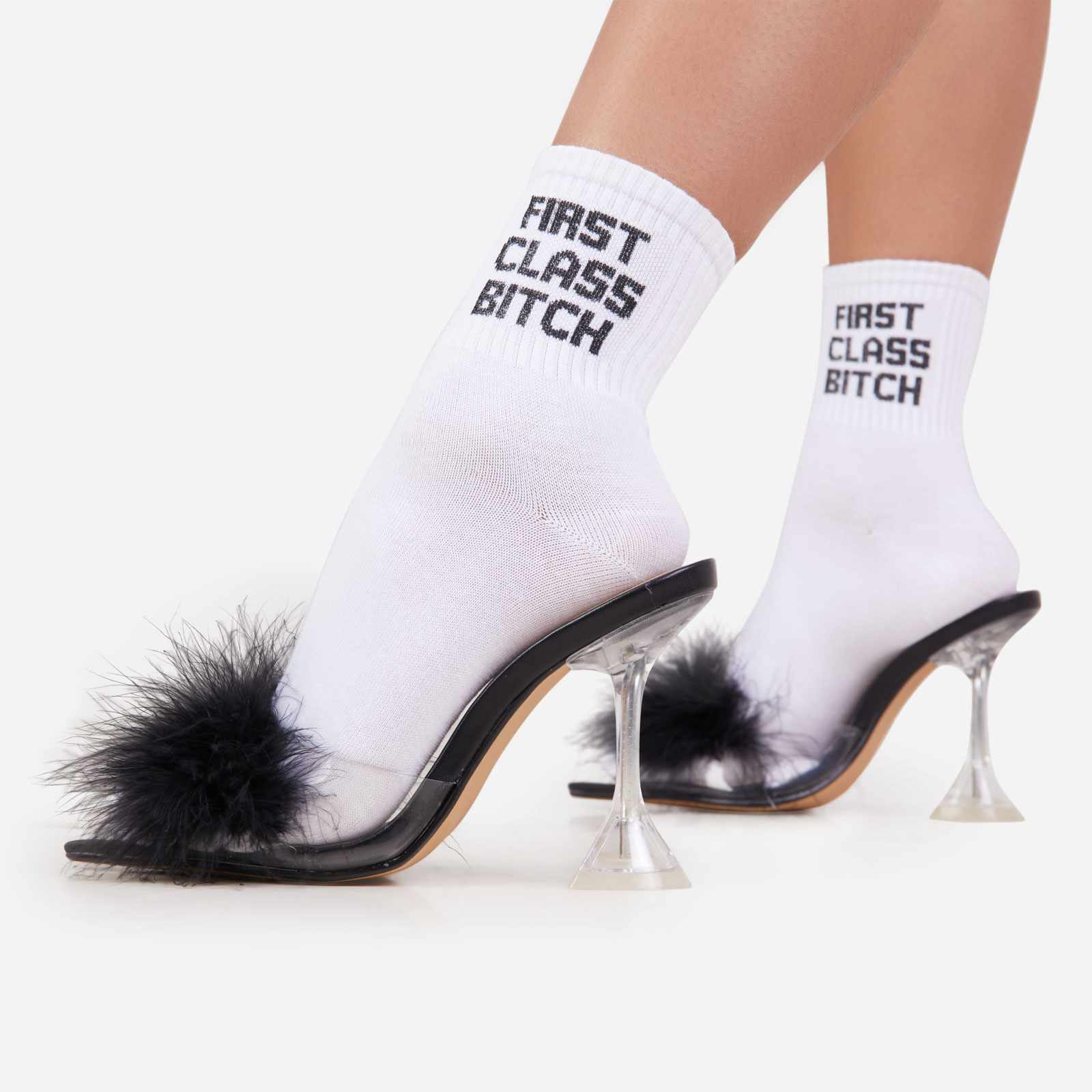 First Class Slogan Sport Socks In White